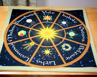 Altar Cloth or Tarot Cloth - Wheel of The Year with Symbols  - Pagan or Wicca - Designed by Wendy Wilson of Magic in Your Living Room