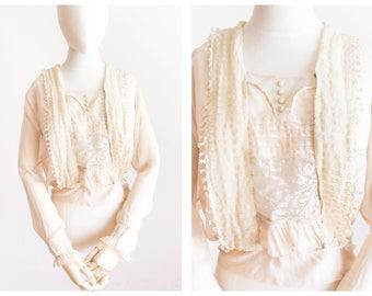 edwardian chiffon lace blouse   antique blouse   size extra small