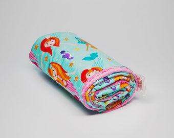 Mermaid Baby Blanket - Girl's Minky Baby Blanket - Baby Blanket with Mermaids - Minky Baby Blanket - Baby Gifts - Nursery Decor