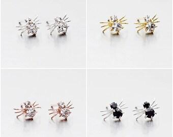925 Sterling Silver Earrings, Crystal Earrings, Gold Plated Earrings, Rose Gold Plated Earrings,  Bug Earrings, Stud Earrings (Code : E39)