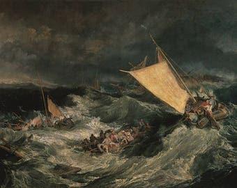 JMW TURNER - 'The Shipwreck' - original archival quality print - large (Curwen Press, London)