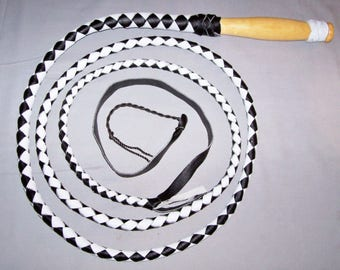 6 Foot 4 Plait Black and White Swivel Handle Western Real Leather Bullwhip with nylon popper Bullwhip INDIANA Jones Style BULLWHIP