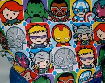 Large WIP Zipper Project Bag, Wedge Bag, Super Hero Kawaii Avengers Zippered Storage / Project Bag, Knitting bag,