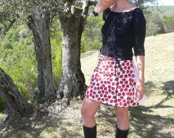 """Wrap skirt with ladybugs pattern """"poppy seed"""""""