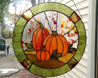 """14"""" Round Stained Glass Pumpkin Panel"""