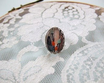 Oval cabochon ring feathers Indian leaf ring