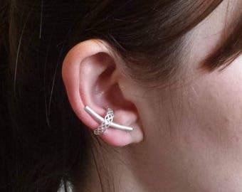 SALE Silver ear cuff, celtic knot, ear cuffs, ear cuff earrings, sterling silver ear cuffs