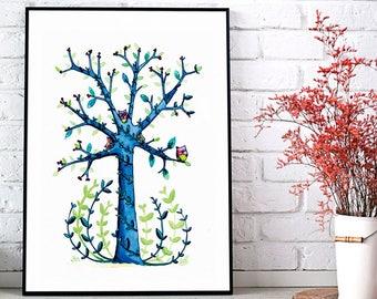 Poster A3 (30x40cm) - tree OWL - decoration - graphic illustration