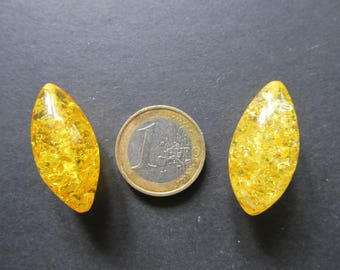 2 oval amber Baltic 32x15mm