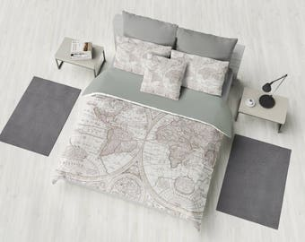 World Map Duvet Cover - bed - bedroom, travel decor, cozy soft, gray, grey, winter, warm, wanderlust