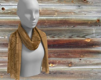 World Map Scarf - aged map print -  map women' s apparel scarf, pocket square, neckerchief, cartography, old world, sepia tone,  beautiful