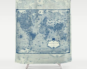 World Mercator Map Shower Curtain - Historical , antique image Navy and cream, illustrated map - Home Decor - Bathroom - travel, blue, cream