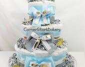Heaven Sent Baby Boy Diaper Cake| Baby Boy Gifts| Baby Boy Shower|  Baby Boy Diaper Cakes| Centerpieces| Baby Gifts| Baby Shower Gifts|