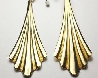 Egyptian earrings | Gold fan earrings | Ruffled earrings | Large dangle earrings | Long statement earrings | tribal earrings
