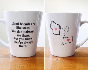 Long distance friendship mug. Custom Long distance mugs. State mug Personalized mug gift for best friend