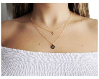 gold initial necklace • initial gold necklace • personalized jewelry • 14K gold fill set of 2 • dainty layered necklaces • B080