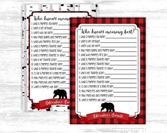Buffalo plaid baby shower game Who knows mommy best Baby bear Baby shower Game Lumberjack boy baby shower game (BFB001)