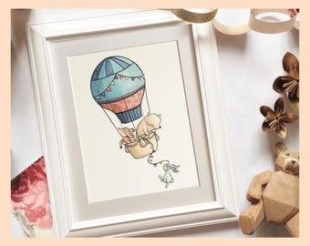 "Woodland animals, hot air balloon ride illustration. 8""x10"" mounted nursery art print."