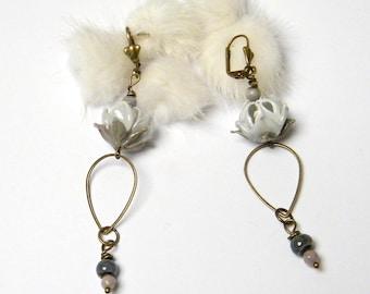 Lampwork Glass and brass romantic earrings, gift idea