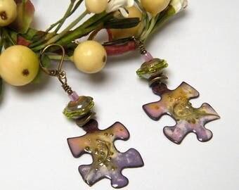 Rustic earrings, enamel on copper, Lampwork Glass and brass