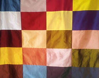Orange Plaid or blanket multicolored patchwork and flannel