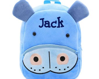 Childrens backpack etsy hippo backpack personalized easter gift toddler backpack preschool backpack kids backpack baby backpack child backpack daycare negle Choice Image