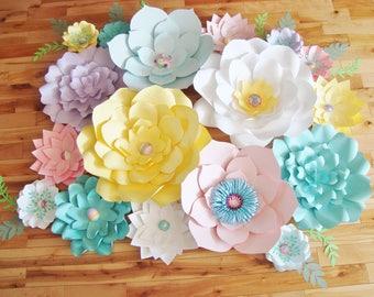 Paper Flower - Set of 17   Paper Flower Backdrop   Baby Nursery   Paper Flower Wall   Wedding Backdrop   Baby Shower Decor   Flower Decor
