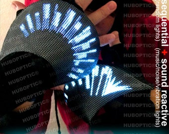 Comet Tail FX Gloves - Fingerless Light Up Gloves for DJ Glovers Cyborg Robot Costume Cosplay Superhero Villain Cyber Edm Scifi LED Gloves