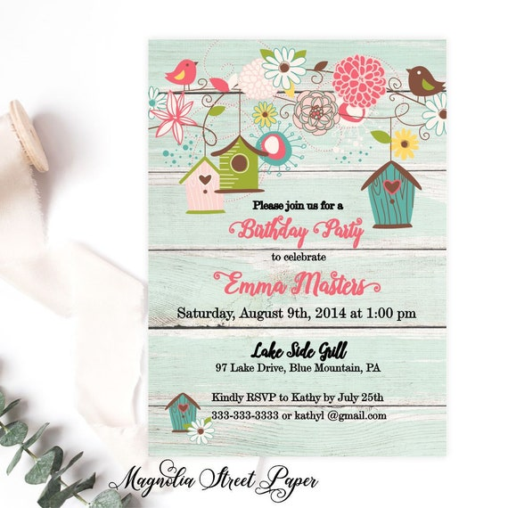 Birdhouse birthday invitation rustic bird birthday invitations il570xn filmwisefo