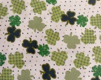 SALE - One Half Yard of Fabric Material - Gingham Shamrocks, St Patrick's Day
