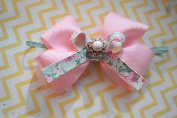 Pink Grosgrain Ribbon Bow with faux leather and rhinestone - Baby / Toddler / Girls / Kids Headband / Hairband / Bow / Barette / Hairclip