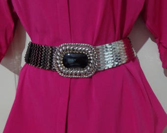 80's Silver Metal Stretch Fish Scale Belt
