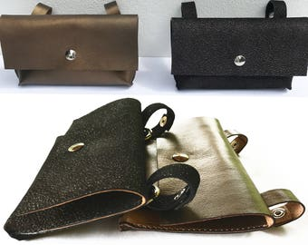 Mini leather funny pack for the moments when you want to have your hands free: Leather hip clutch to hang on your belt or on the belt loops