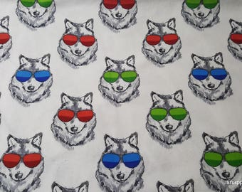 Flannel Fabric - Sunglasses on Wolves - By the yard - 100% Cotton Flannel