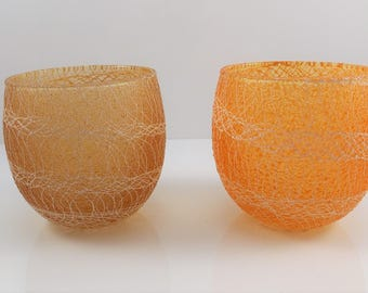 Vintage Spaghetti String Glassware Roly Poly Glasses Set of 2