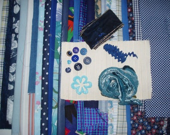 set of 500 g fabrics of different sizes in shades of blue my BOX6