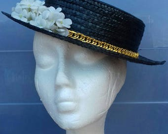Black Canotier, Black Straw, Black Hat, Straw Hat, Summer Hat, Wedding Hat, Chanel Style Hat, Womens Hat, Womens Accessories