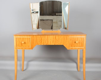 Mid Century Retro 1960s  Walnut Dressing Table with Drawers & Mirror Desk Retailed by Heals Desk