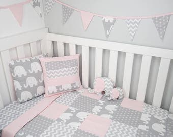 Patchwork cot quilt in Pink and Grey Elephants