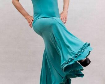 Albai Flamenco Dress, Light Emerald Green