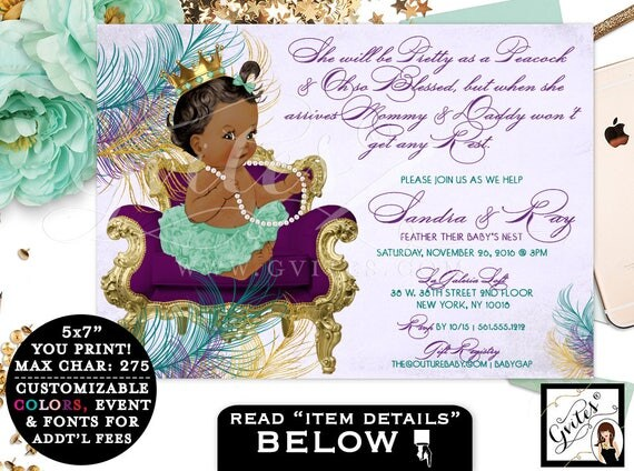 Peacock BABY SHOWER invitation, purple gold teal green baby shower, princess baby girl, diamonds pearls, customizable African American baby.