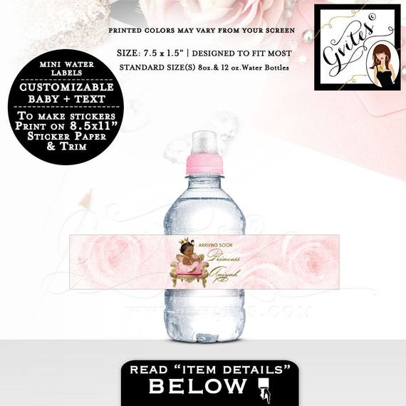 "MINI Water Bottle Labels, baby shower pink and gold stickers, personalized water label Fits 8oz-12oz. Size: 7.5 x 1.5""/7 Per Sheet."