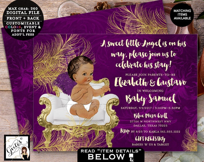 Purple and Gold Angel baby shower invitation, african american vintage boy shower, angel is on this way.  Double Sided 7x5 DIGITAL FILE ONLY