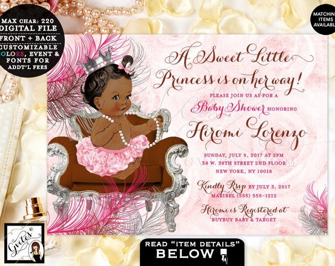 Pink and Brown Baby Shower Invitations, Princess African American, Pink Silver Chocolate, Silver Crown, Vintage Girl. DIGITAL. #BSC6CPB