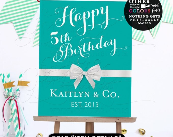 Baby and Co Happy Birthday signs, breakfast at and co, printable, turquoise poster, decorations, DIY, Digital File.