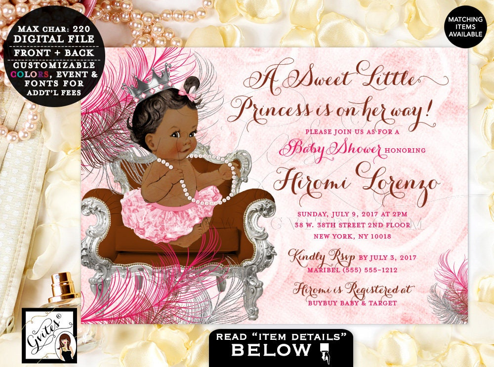 Pink and Brown Baby Shower Invitations, Princess African American ...