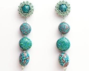 Earrings Novelove #Turquoise and Green Pendants beadsearrings #SummerJewellery with Seedbeads #handmade #vintagestyle #madeinItaly