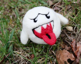 Needle Felted Boo // Mario // Felted Ghost  // Handmade Sculpture // Merino Wool // Gifts for Him // Mario Cosplay