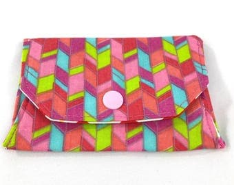 Pink geometric snap wallet // notions pouch // slim pouch // slim wallet // coin purse // gift card holder // pill box // origami wallet