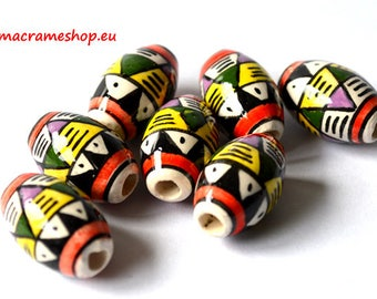 Set of 5 LARGE 20 mm beads hand painted and glazed ceramic beads from Peru Cusco